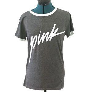 Victiria Secret Pink Tee Shirt Sleeve Gray Cursive